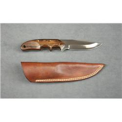 "Custom made knife with leather belt sheath by  Nolen of Pottsboro, Texas, approx. 8-1/2""  overall wi"