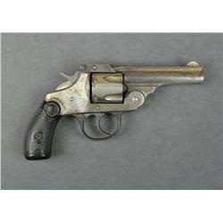 "Iver-Johnson DA revolver, .38 cal., 3-1/2""  barrel, nickel finish, checkered hard rubber  grips, #NV"