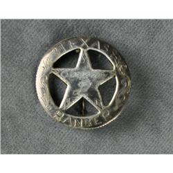 "Interesting Texas Ranger badge made from a  Mexican silver coin marked ""Texas Ranger,  Company D""; c"