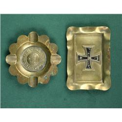 "Lot of two pieces of German trench art  ashtrays including a circular piece with  ""Gott Mit Uns"" rel"