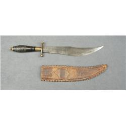 "Mexican clip point curved blade large dagger  approx. 16"" overall with an approx. 10-1/2""  blade, br"