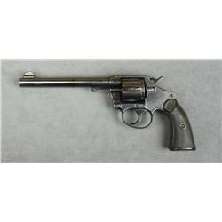 "Colt Police Positive DA revolver, .38 cal.,  6"" barrel, re-blued finish, checkered hard  rubber grip"