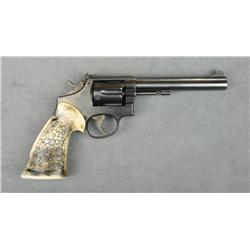 Smith & Wesson Pre-Model 14 DA revolver,  desirable 5 screw frame, blue finish, custom  plastic targ