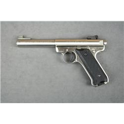 "Ruger Mark II Target semi-auto pistol, .22LR  cal., 5-1/2"" bull barrel, stainless steel,  checkered"