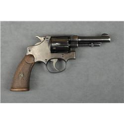 """Smith & Wesson five screw hand ejector  revolver, .32 long cal., 3-1/4"""" barrel, blue  finish checker"""