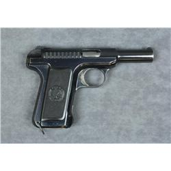 "Savage Model 1905 semi-auto pistol, 7.65mm  cal., 3-3/4"" barrel, blue finish, checkered  plastic gri"