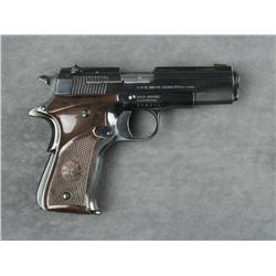 "Llama pocket model semi-auto pistol, .22  cal., 3-1/2"" barrel, black finish, checkered  mottled brow"