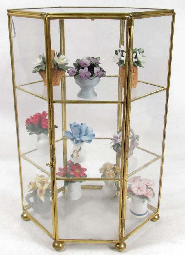 Small Glass Display Case W Miniature Porcelain Flowers