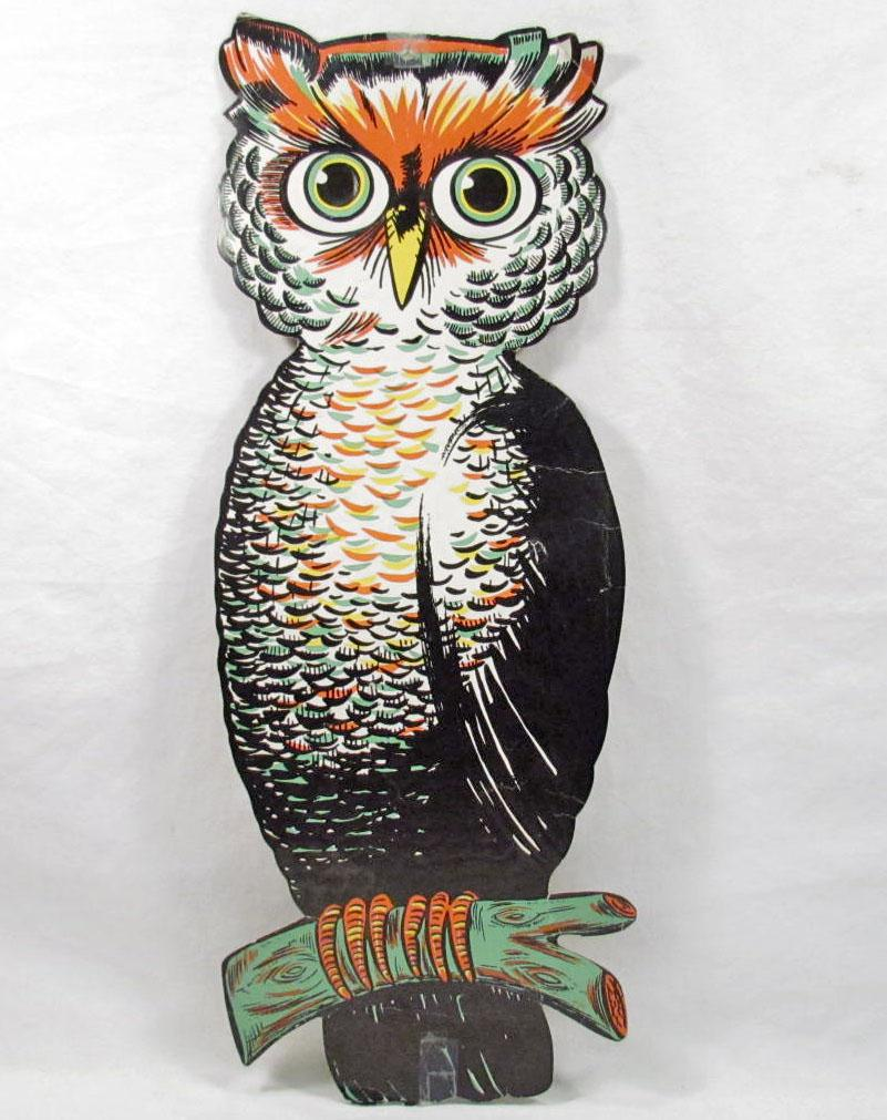 Vintage beistle halloween decorations - Image 1 Vintage Beistle Die Cut Embossed Owl Halloween Decoration
