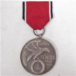 GERMAN NAZI MUNCHEN 1923 - 1933 NOV. 9 MEDAL W/ RIBBON