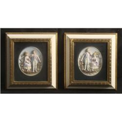 2 Hand Painted Porcelain Relief Romantic Scenes Framed