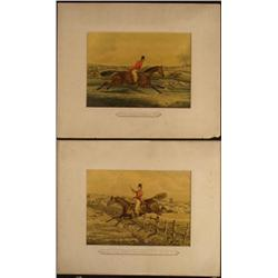 2 Robert Frankland Original Old Horse Hunting Prints