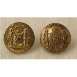 2 Wisconsin State Brass Coat Buttons Post Civil War