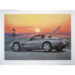 Scott Jacobs Endless Summer Corvette Car Surf Art Print