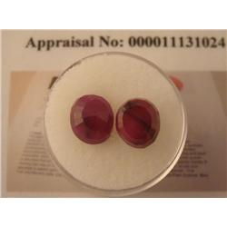 2 Oval Earth Mined Ruby Gemstone 4.5 ct. Red w/ COAs