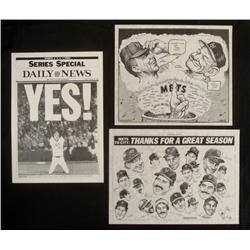 3 Mets World Series Orig NY  Daily News Inserts 1986