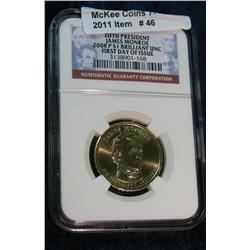 46. 2008 P James Monroe Presidential Dollar. NGC