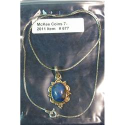 677. Ladies Sterling Silver Necklace with blue azul.