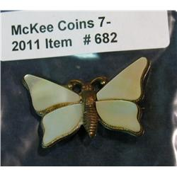 682. Mother-of-Pearl Butterfly Pin. 1920-30 era.