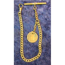686. Men's Antique Watch Chain with old 1897 Indian Cent attached.