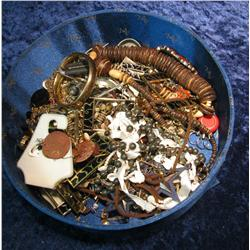 687. Large Hat Box full of Old Costume Jewelry.