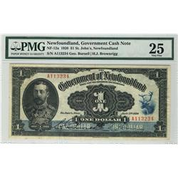 Government Cash note Nfld 1920 $1 NF-12a PMG VF25.  Rare signature and exceptional grade for type.