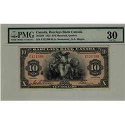 Barclays Bank of Canada 1935 $10 E121399 CH-30-12-08 PMG VF30