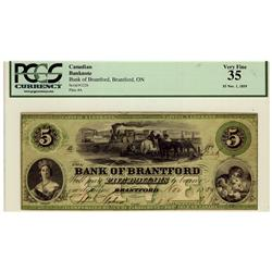 Bank of Brantford 1859 $5 1226  CH-40-10-04-08 PCGS VF35