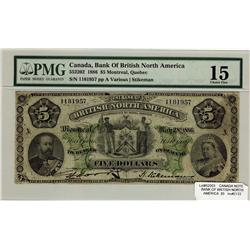 The British Bank of North America 1886 $5 1181957 CH55-22-02 PMG F15
