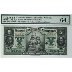 Banque Canadienne Nationale 1925 $5 2558645 CH-85-10-02 PMG UNC64EPQ