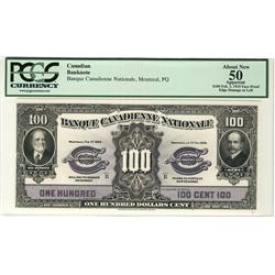 Banque Canadienne Nationale 1925 $100 034875 CH-85-10-10 PMG VF25