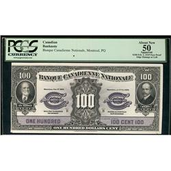 La Banque Canadienne Nationale 1929 $100  CH-85-12-10S PCGS AU50 App