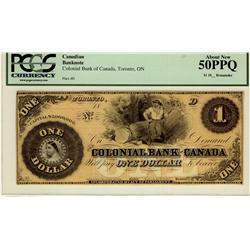 The Colonial Bank of Canada 1859 $1  CH-130-10-02-02R PCGS AU50 PPQ