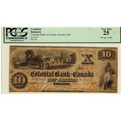The Colonial Bank of Canada 1859 $10 227 CH-130-10-02-12 PCGS VF25