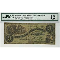 The Commercial Bank of  Canada 1861 $3 1187 CH-200-10-02 PMG F12