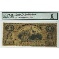 The Dominion Bank 1876 $4 01983 CH-220-12-02 PMG VG8