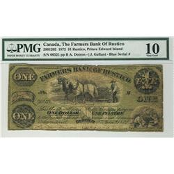 The Farmers Bank of Rustico 1872 $1 06521 CH-290-12-02 PMG VG10