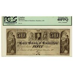 The Gore Bank of Hamilton 18-- $50 CH-320-10-06R PCGS EF40PPQ
