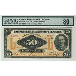 Imperial Bank of Canada 1923 $50 E5397 CH-375-18-14 PMG VF30