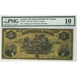 The Imperial Bank of Canada 1896 $5 117349 Ch-375-10-18 PMG VG10