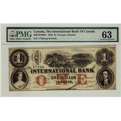 The International Bank of Canada 1858 $1 17102 CH-380-10-10-08a PMG UNC63