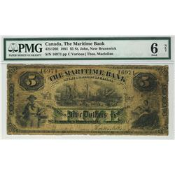 The Maritime Bank 1881 $5 16971 CH-425-12-02 PMG G6