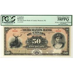 The Merchants Bank of Canada 1903 $50  CH-460-14-12P Face and Back PCGS AU58PPQ and UNC63PPQ for Bac