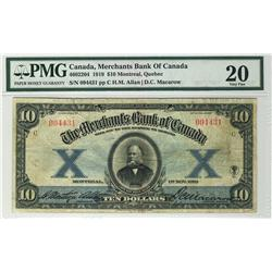 The Merchants Bank of Canada 1919 $10 094431 CH-460-22-04 PMG VF20