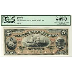 The Merchants Bank of Halifax 1880 $5 CH-465-20-02P Face and Back,  PCGS UNC64PPQ and UNC66PPQ for B