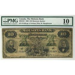 The Molsons Bank 1900 $10 81449 CH-490-22-32 PMG VG10