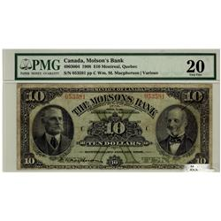 The Molsons Bank 1908 $10 053591 CH-490-30-04 PMG VF20