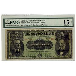 The Molsons Bank 1918 $5 231240 CH-490-38-02 PMG F15