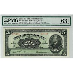The Molsons Bank 1922 $5 021163 CH-490-40-02 PMG UNC63 EPQ