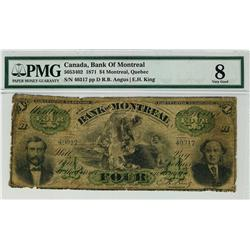 The Bank of Montreal 1871 $4 40317 CH-505-34-02 PMG VG8